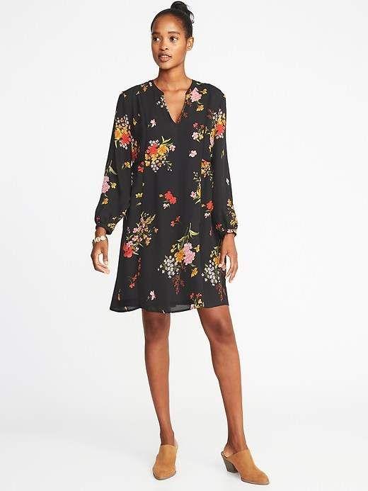 4d3534897dc Floral-Print Georgette Swing Dress for Women in 2018