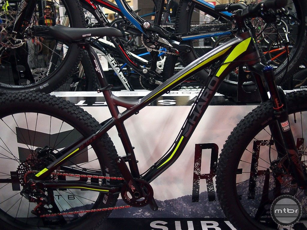 The Subvert line of alloy hardtails from Haro feature a 6061-T6 frame with WTB Scraper rims and WTB Bridger tires.