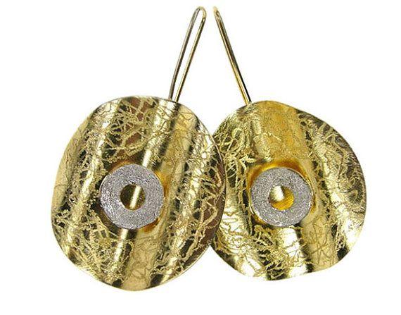 Silver gold plated drop hook earrings by silverjewelrygr on Etsy