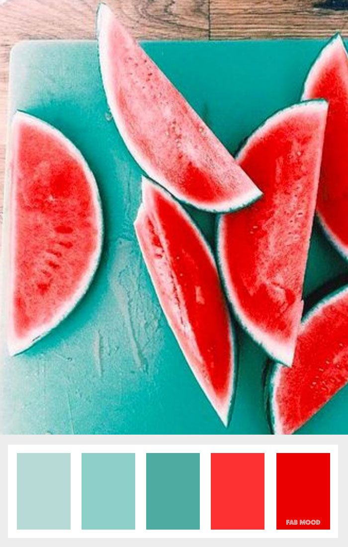 Red And Sea Green Color Scheme For Summer Food Drink