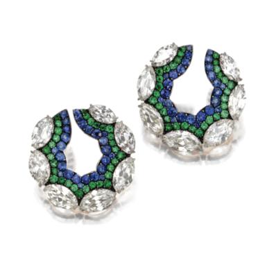Pair of 18 Karat Gold, Silver, Diamond, Sapphire and Emerald Earclips, JAR, Paris, 1998 - Sotheby's
