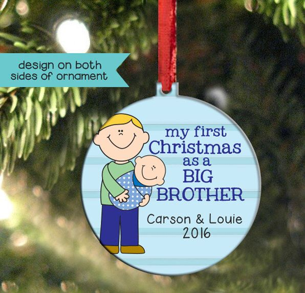 Big Brother Christmas Ornament Part - 35: Big Brother Christmas Ornament, Double Sided And Personalized, Change Hair  And Skin Colors, Christmas Baby Keepsake, Little Brother