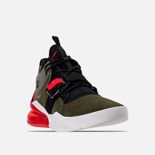 5f105fe165d Three Quarter view of Men s Nike Air Force 270 Basketball Shoes in Medium  Olive Black Total Orange