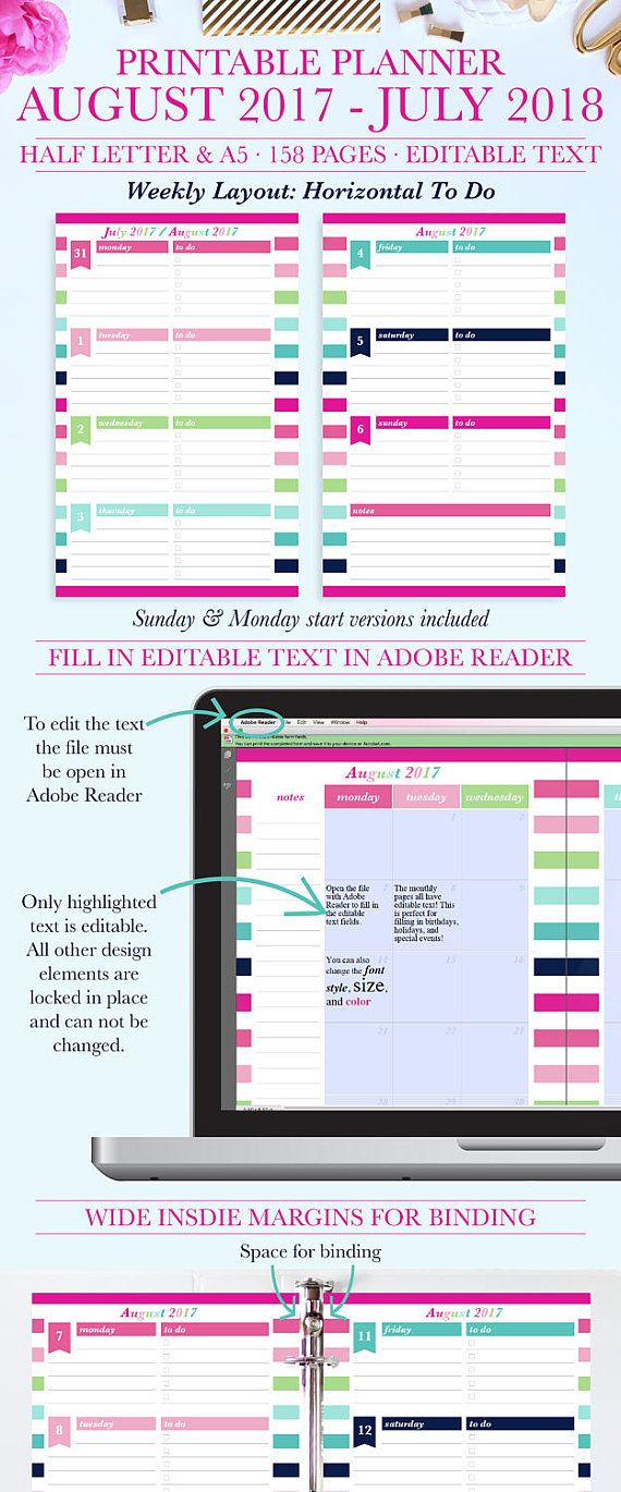 Planner Printable Monthly Planner Weekly Agenda