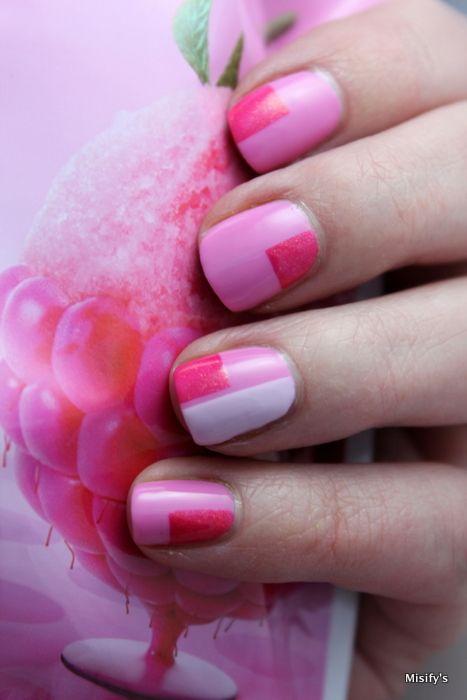 Nail art inspired by a new gum (Raspberry Sorbet) by Jenkki. Essie - Cascade Cool / Essie - Go Ginza / China Glaze - Strawberry Fields