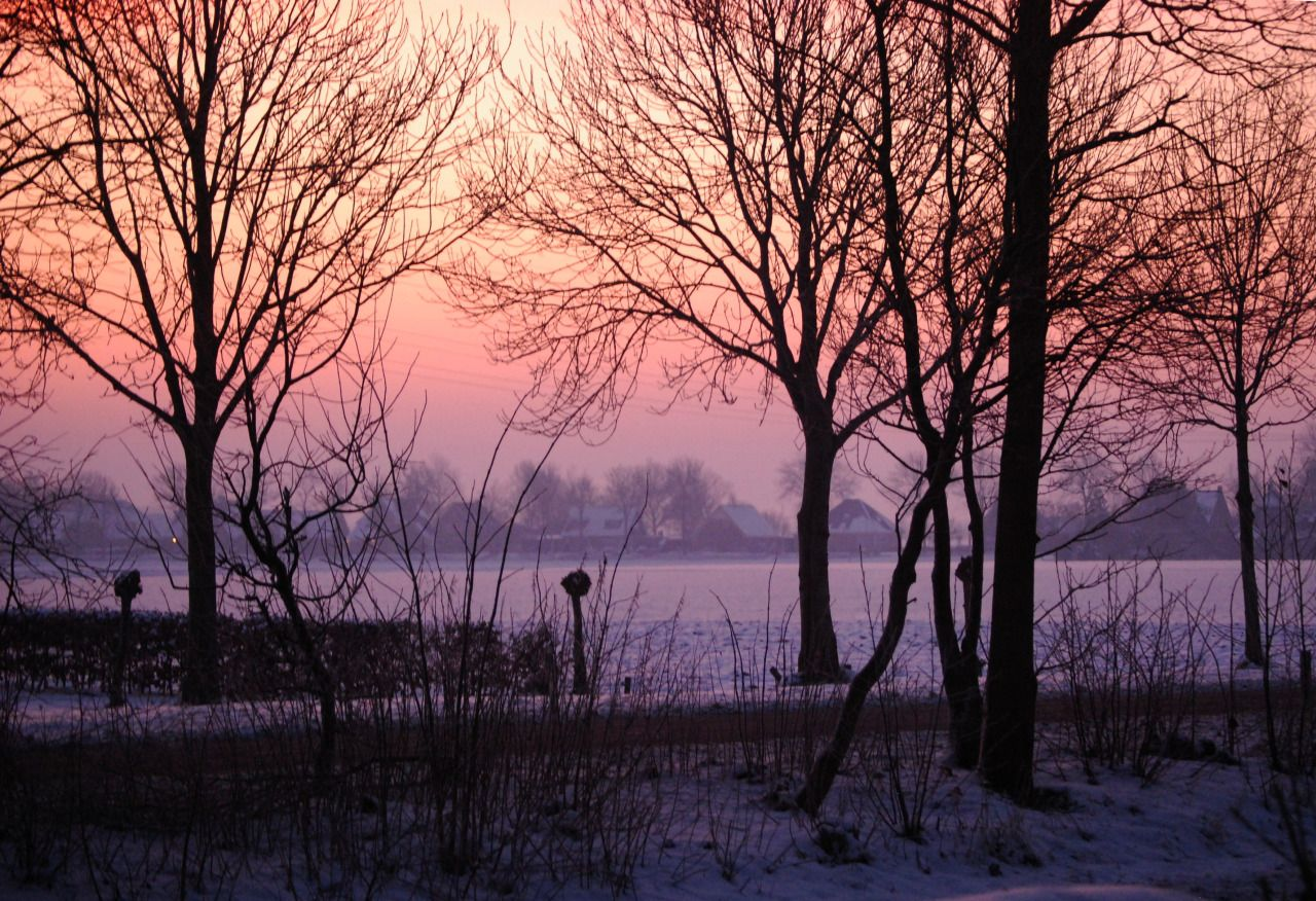Winter sunset and view on 't Veld, Noord-Holland, Netherlands photography by cityhopper2