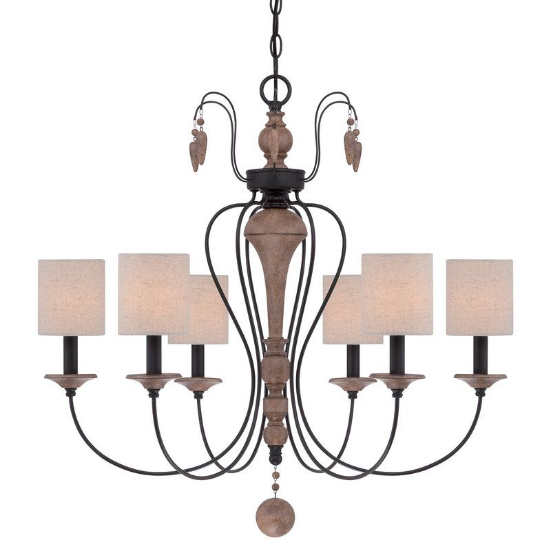 """View the Quoizel LNA5006 Lena 6 Light 28"""" Wide Chandelier with Linen Shades at LightingDirect.com."""