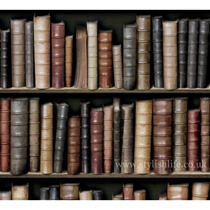 Vintage Library Leather Bookshelf Wallpaper