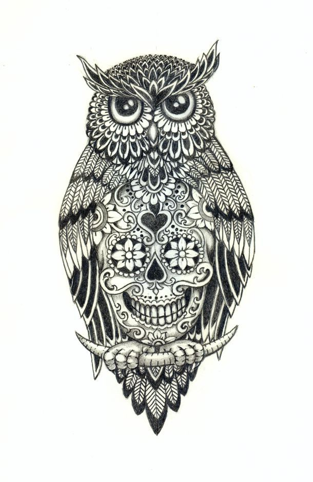 Owl With A Sugar Skull Under Belly | Colorful owl tattoo ...