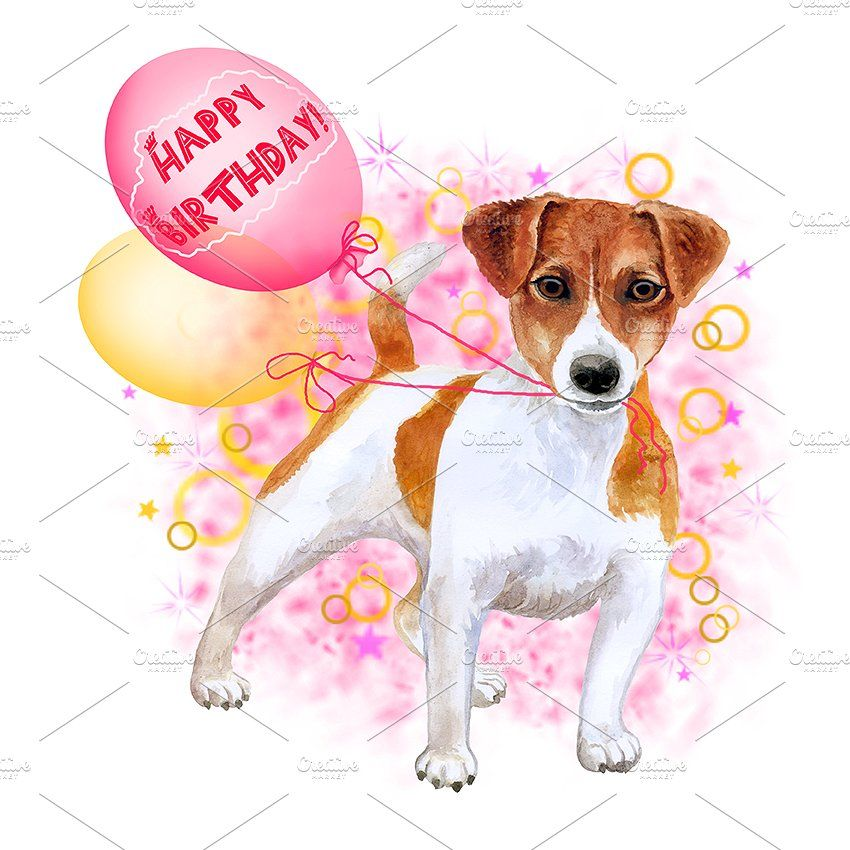 Watercolor Dogs Collection 10 Of 12 Watercolor Dog Happy Birthday Greeting Card Happy Birthday Celebration