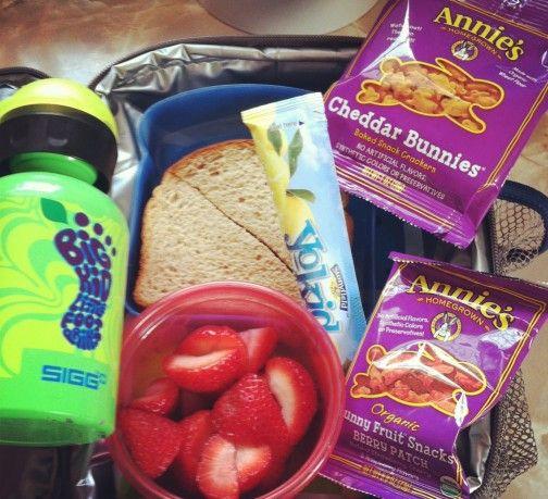 PB  honey, sliced strawberries, frozen Yokids yogurt tube- lemon flavor, Annie's Cheddar Bunnies  Annie's Bunny Fruit Snacks,