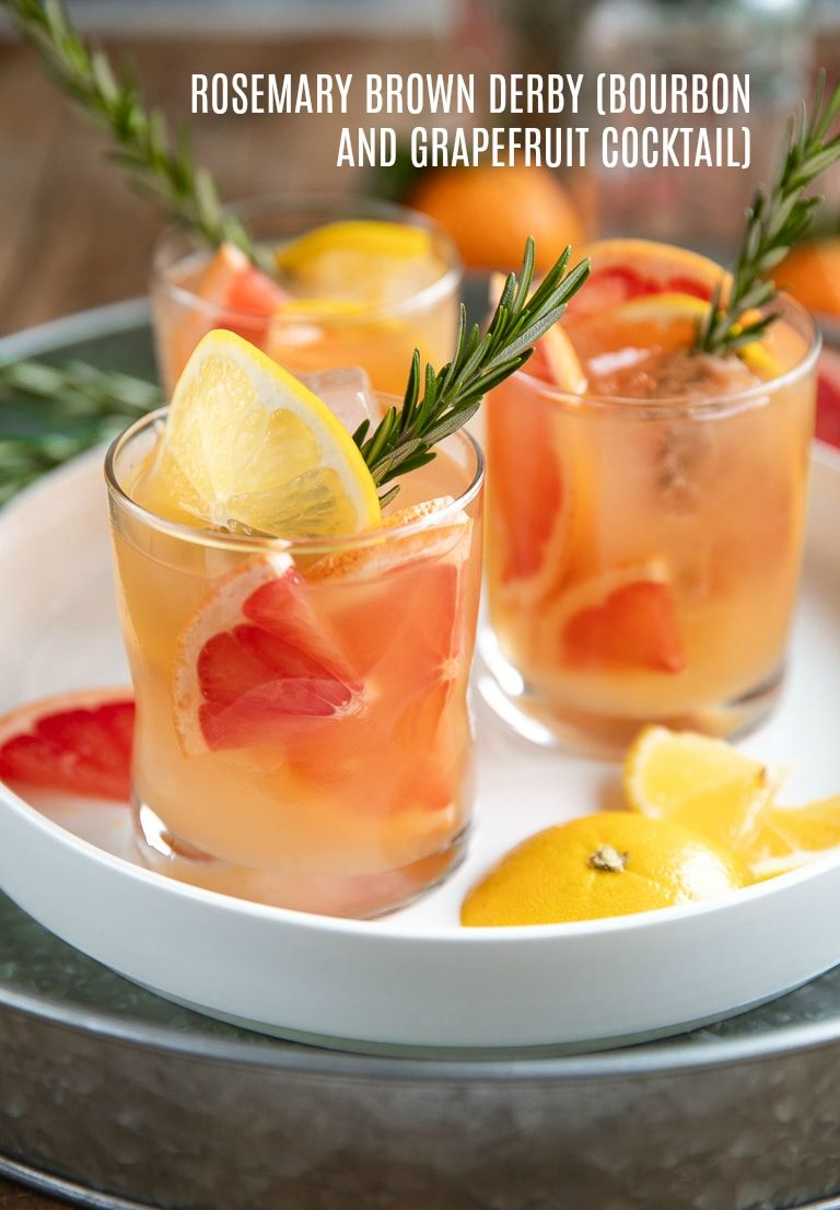Rosemary Brown Derby (Bourbon and Grapefruit Cocktail) #grapefruitcocktail