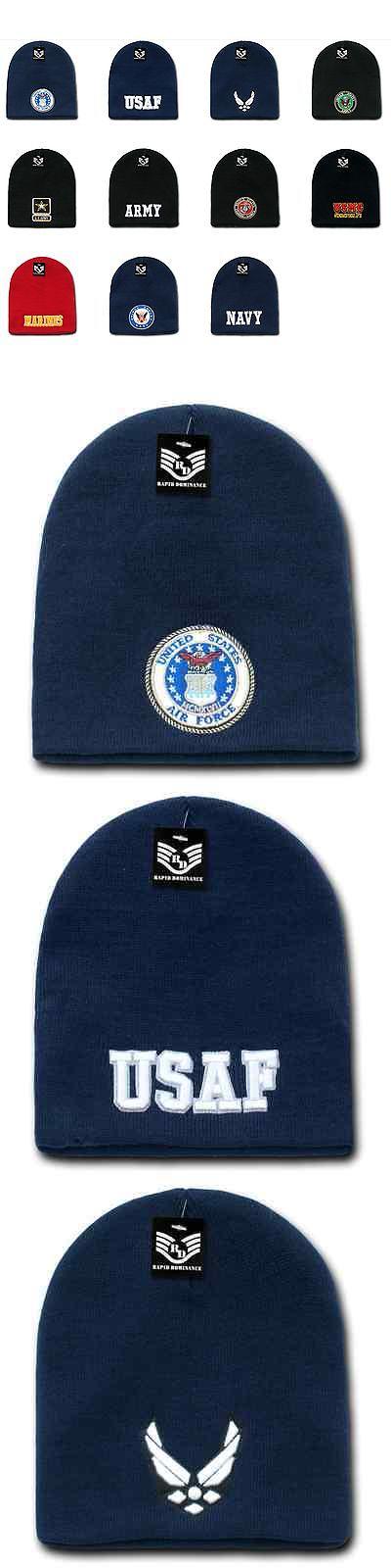 Mens Accessories 45053: 1 Dozen Embroidered Military Short Beanie Beanies  Knit Caps Cap Hats Wholesale