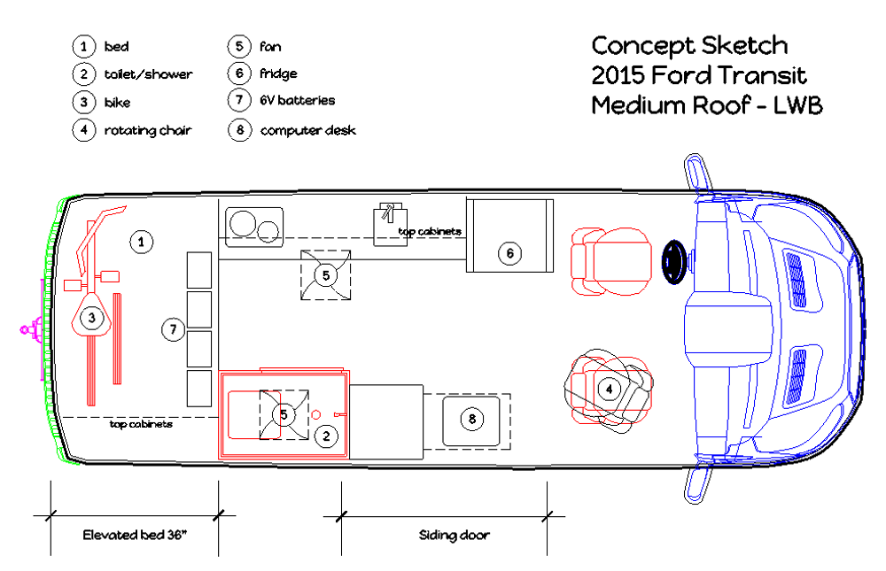 The Actual Layout Plans For A Luxury Cargo Van Conversion Project An Affordable DIY Modification
