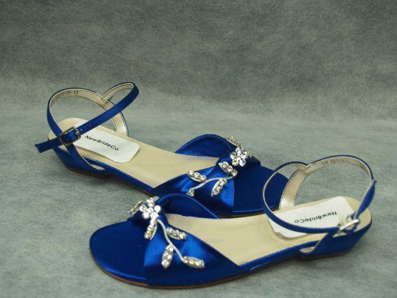 f1f071c4639f2 Royal Blue Shoes Flower-Girls Silver Crystals   Inspiring Ideas ...