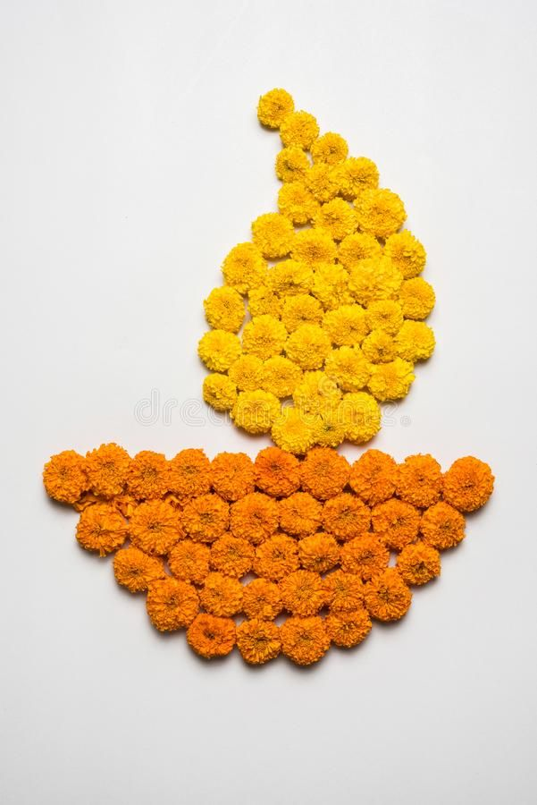 Flower Rangoli For Diwali Or Pongal Or Onam Made Using Marigold Or Zendu Flowers And Red Rose Petals Over White Background With Di Stock Image - Image of ceremony, india: 99602197