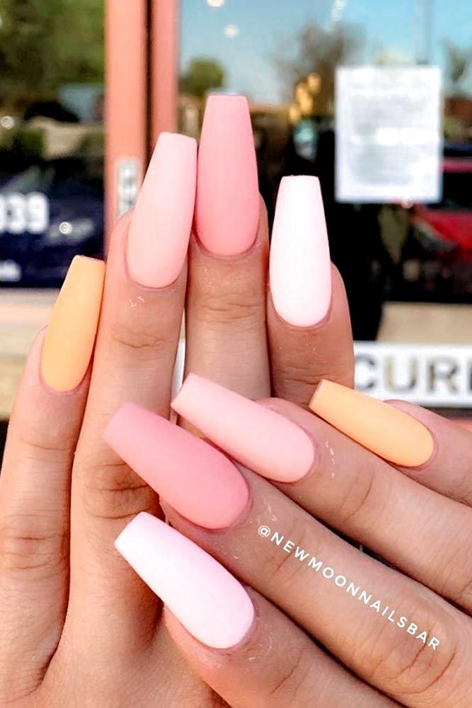 #mattenails #peachnails ★ Easy, cute and fun summer nail designs are waiting f…
