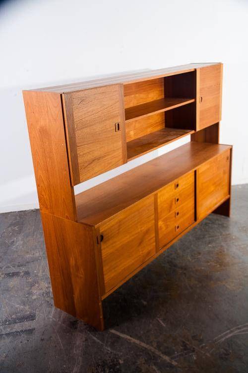 Mid Century Danish Modern Credenza Sideboard Teak Hutch China Cabinet  Vintage M Retro Hans Olsen Wegner Arne Vodder | Pinterest | Credenza, Teak  And Danish