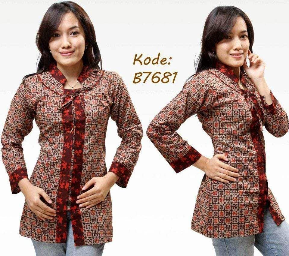 Desain Baju Batik Kantor Modern di 2020   Model pakaian ...