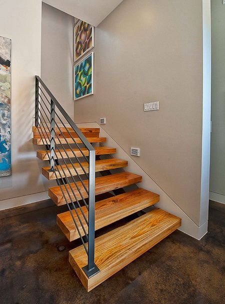 50 Amazing Staircase Ideas_18 Look At The Concrete Floor! Nice Floating  Stairs Too.
