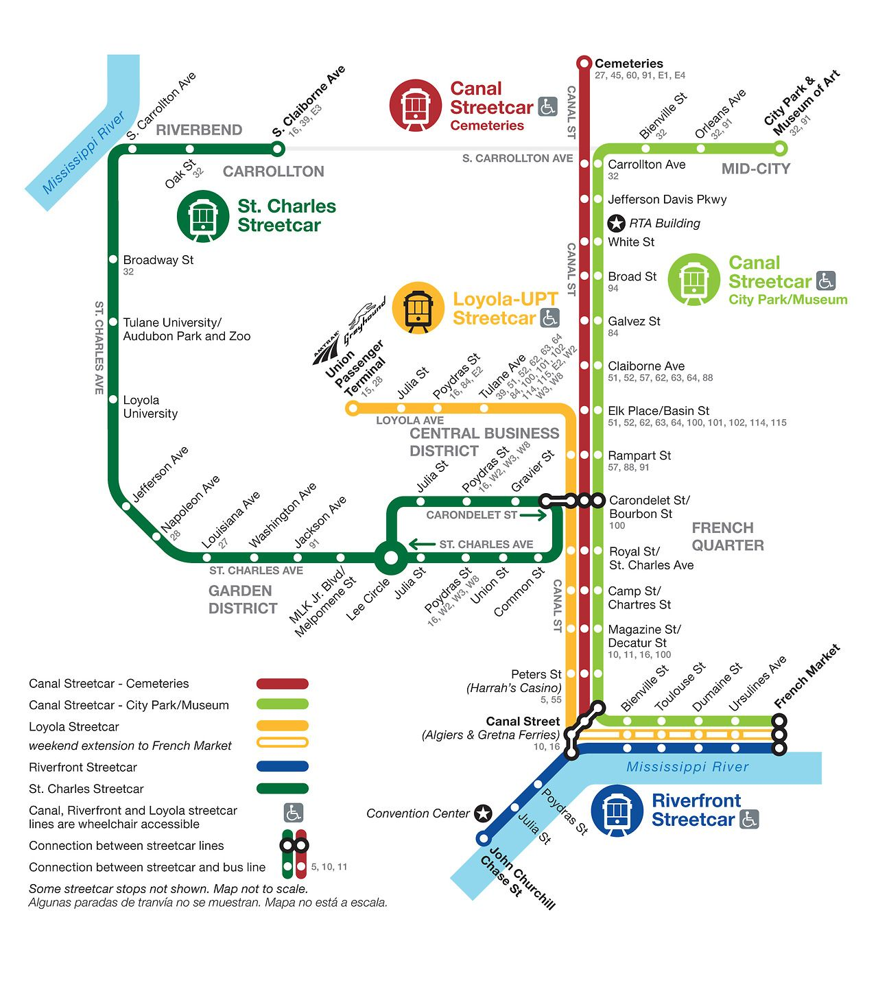 New Orleans Trolley Map Official Map: Streetcar Network, New Orleans Brought to my