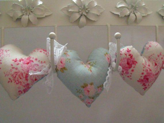 Decorative Wall Hanging Hearts : Tilda fabric hanging heart garland decoration