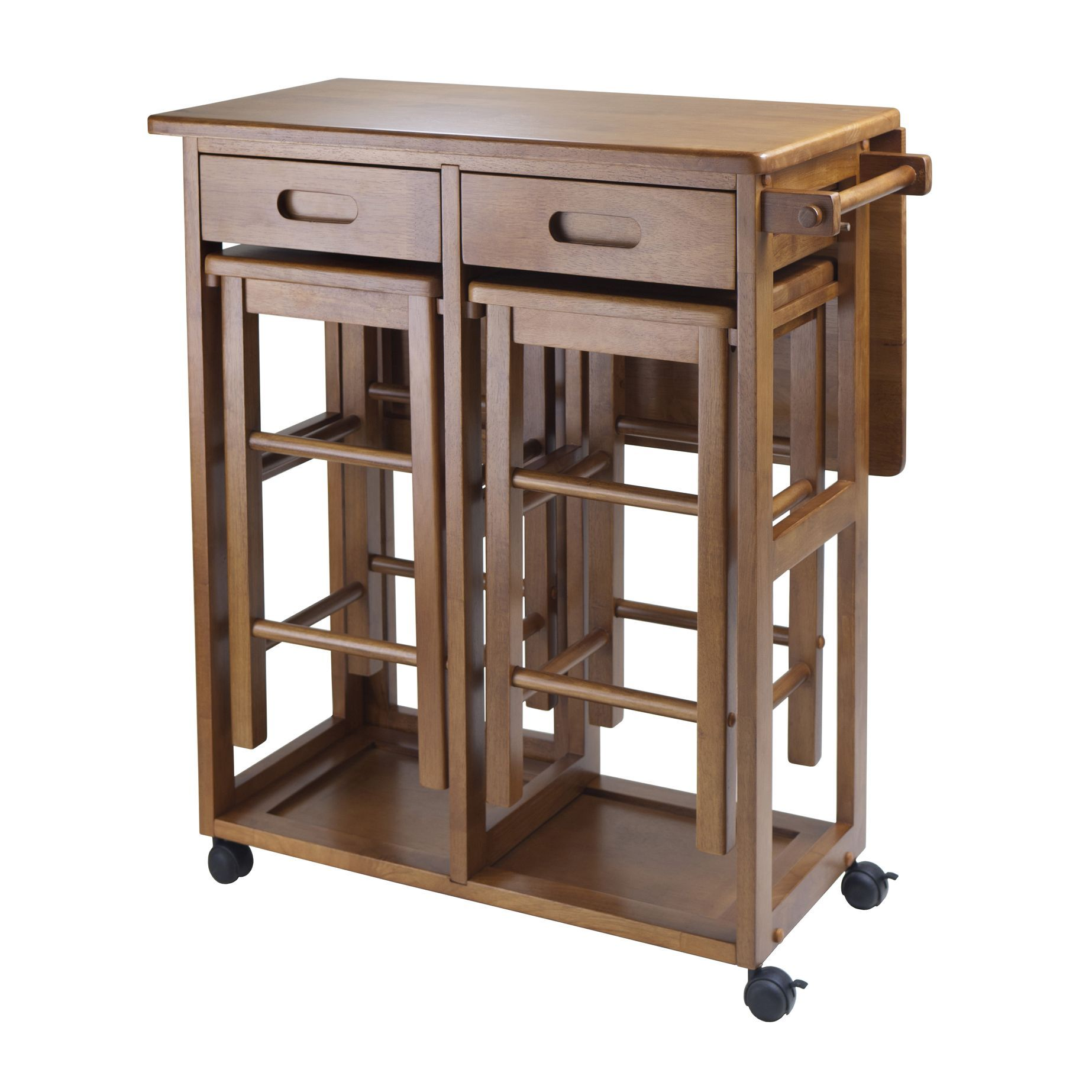 Winsome Portable Space Saver Kitchen Cart With Dropleaf  2 Stools Enchanting Kitchen Cart With Drop Leaf Design Decoration