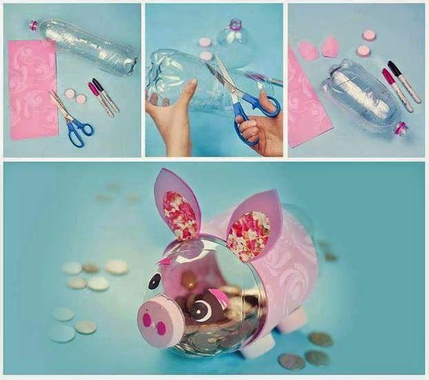 Manualidades Como Hacer Una Hucha Cerdito Reciclabe Manualidades Manualidades Fáciles Manualidades Con Botellas