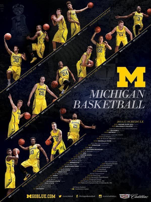 Michigan Mbb Basketball Schedule Basketball Posters