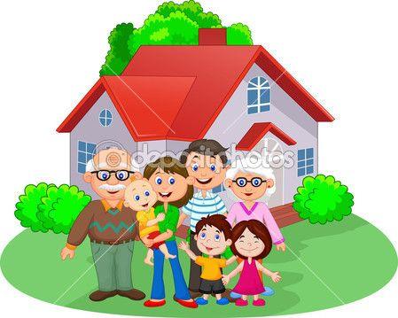 Familia Feliz De Dibujos Animados Ilustracion De Stock 53337237