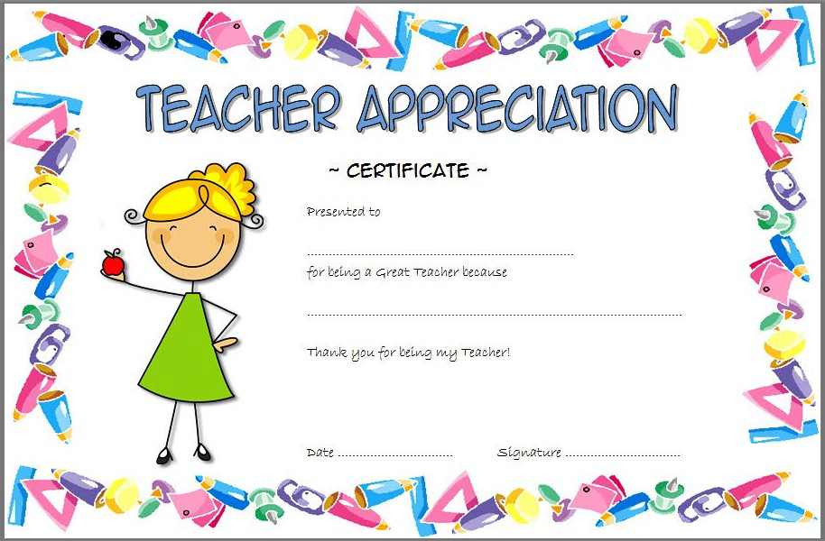 Certificate Of Appreciation For Teacher Free Cute Design Teacher Appreciation Printables Certificate Templates Free Printable Certificate Templates