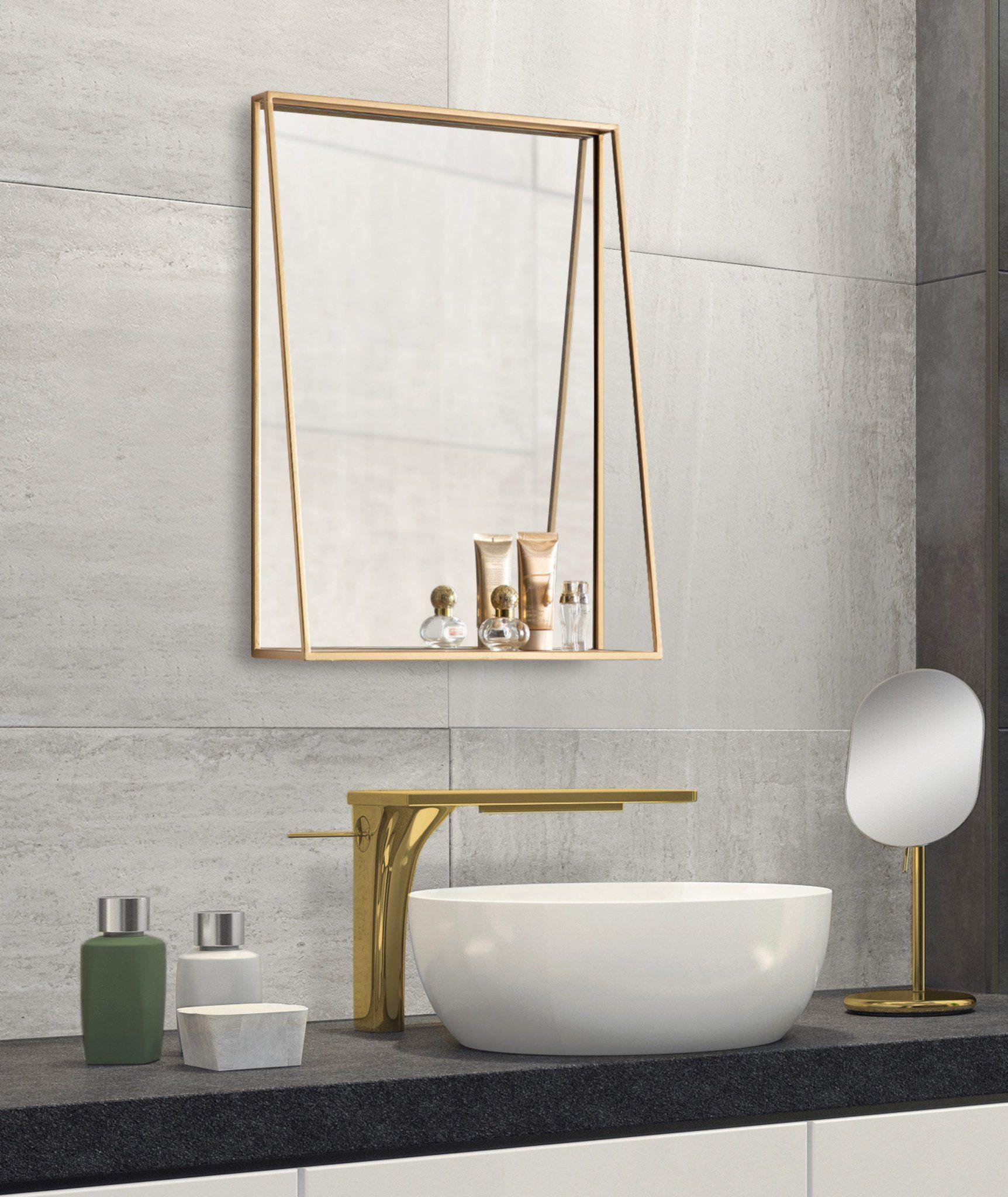 Lintz Metal Framed Mirror With Shelf In 2021 Modern Bathroom Mirrors Unique Bathroom Mirrors Small Bathroom Mirrors [ 2048 x 1724 Pixel ]
