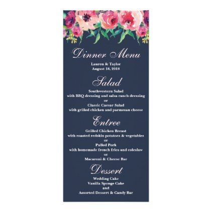 Pink watercolor and navy floral wedding menu card flowers floral pink watercolor and navy floral wedding menu card flowers floral flower design unique style mightylinksfo Choice Image