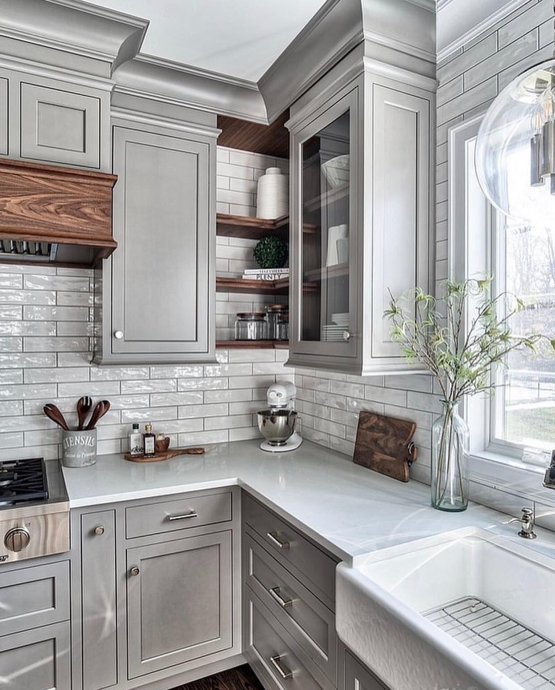 Rana Elshaer On Instagram Pre Holiday Kitchen Status Via Homebunch For More Inspirations Follow Kitchen Cabinet Design Grey Kitchen Designs Home Kitchens