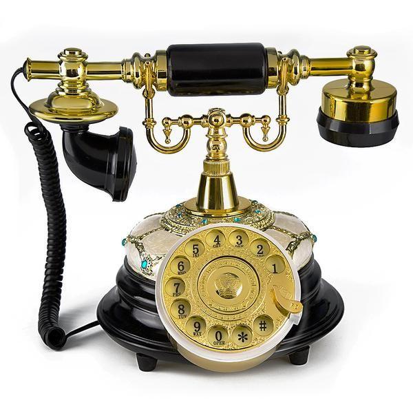 LNC Retro Vintage Antique Style Rotary Dial Desk Telephone Phone Home Living Room Decor