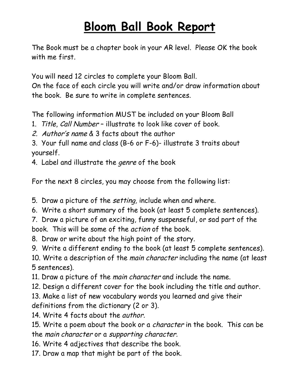 bloom ball book report bloom ball book report pdf pdf fifth