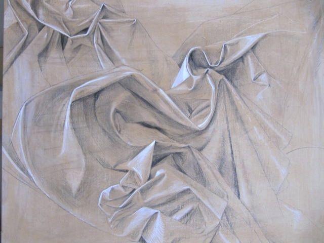 Drapery   by Luis Vargas Saavedra Pencil on wooden pannel