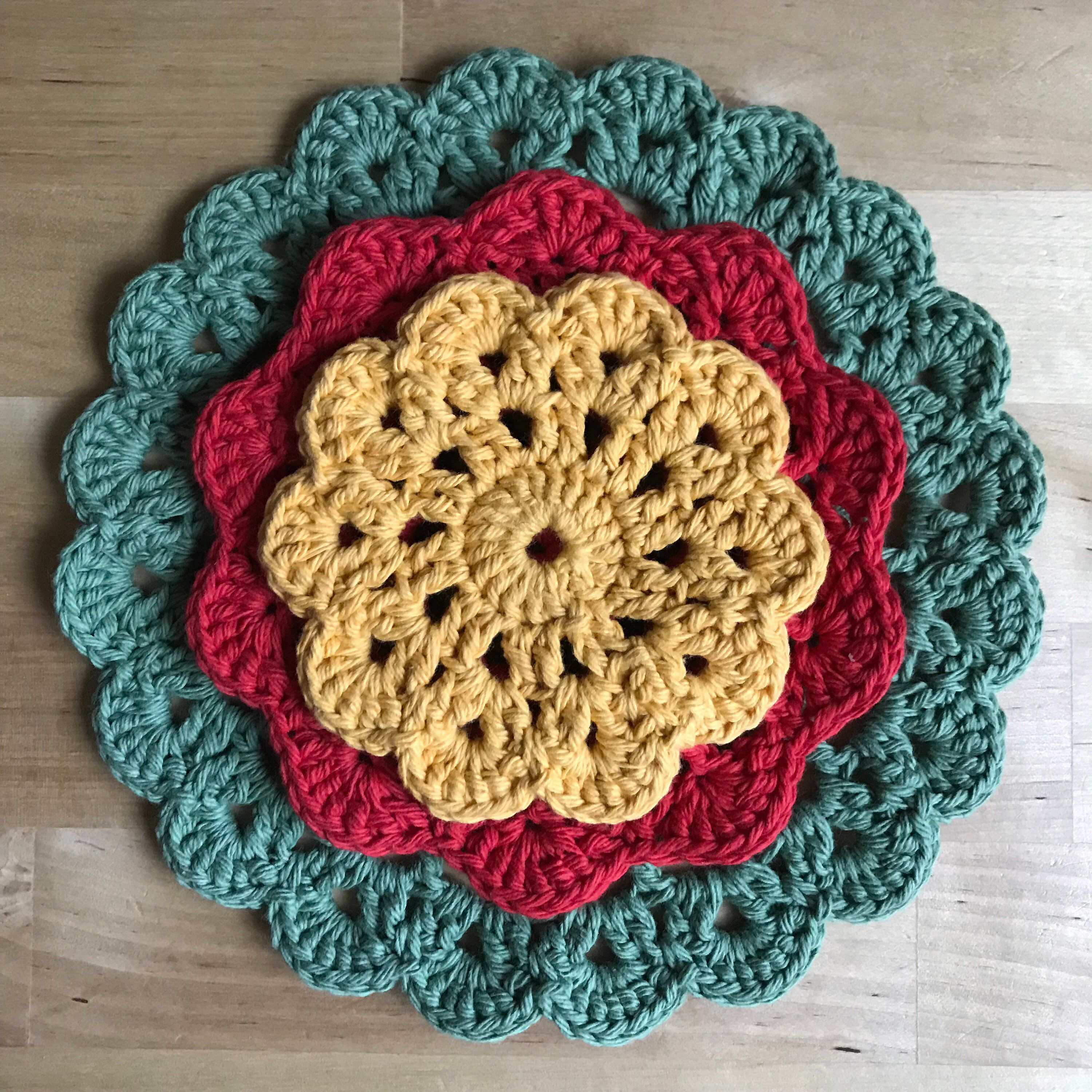 Kitchen Hot Pads How To Refinish Stained Wood Cabinets Crochet Sets Coasters Set Handmade Excited Share This Item From My Etsy Shop Of 2 Doily Mat