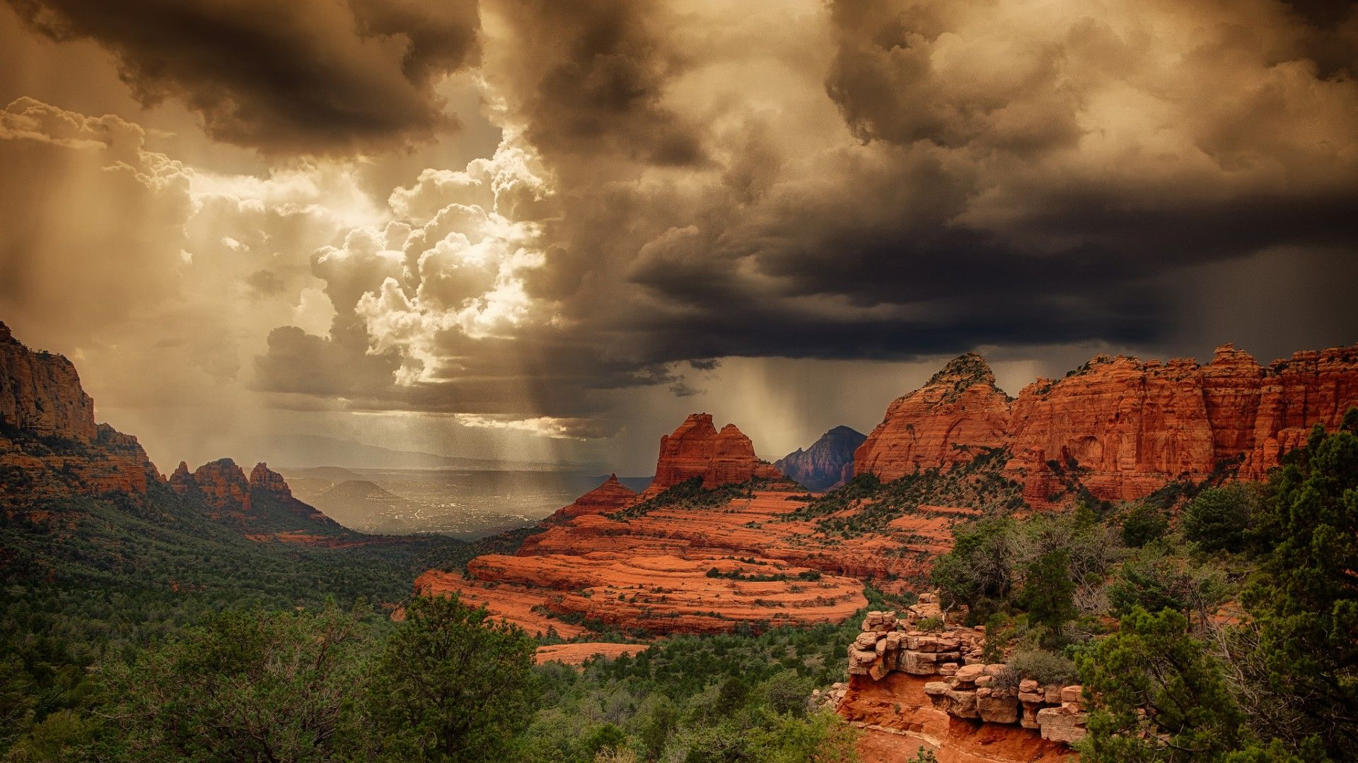 Wallpaper Storm Arizona Usa Rock Summer Desert Light Sedona