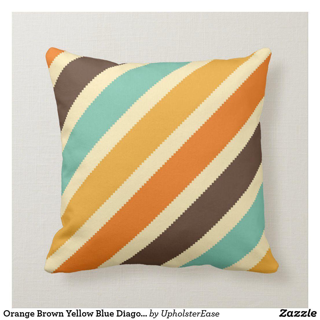 Orange Brown Yellow Blue Diagonal Stripe Pillow