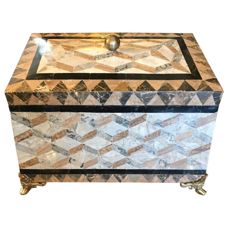 Large Maitland Smith Tessolated Stone Decorative Box Decorative