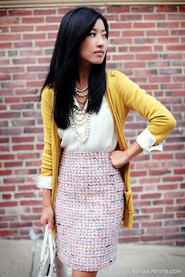 135 Non Boring Work Outfits To Wear This Fall | Winter skirt