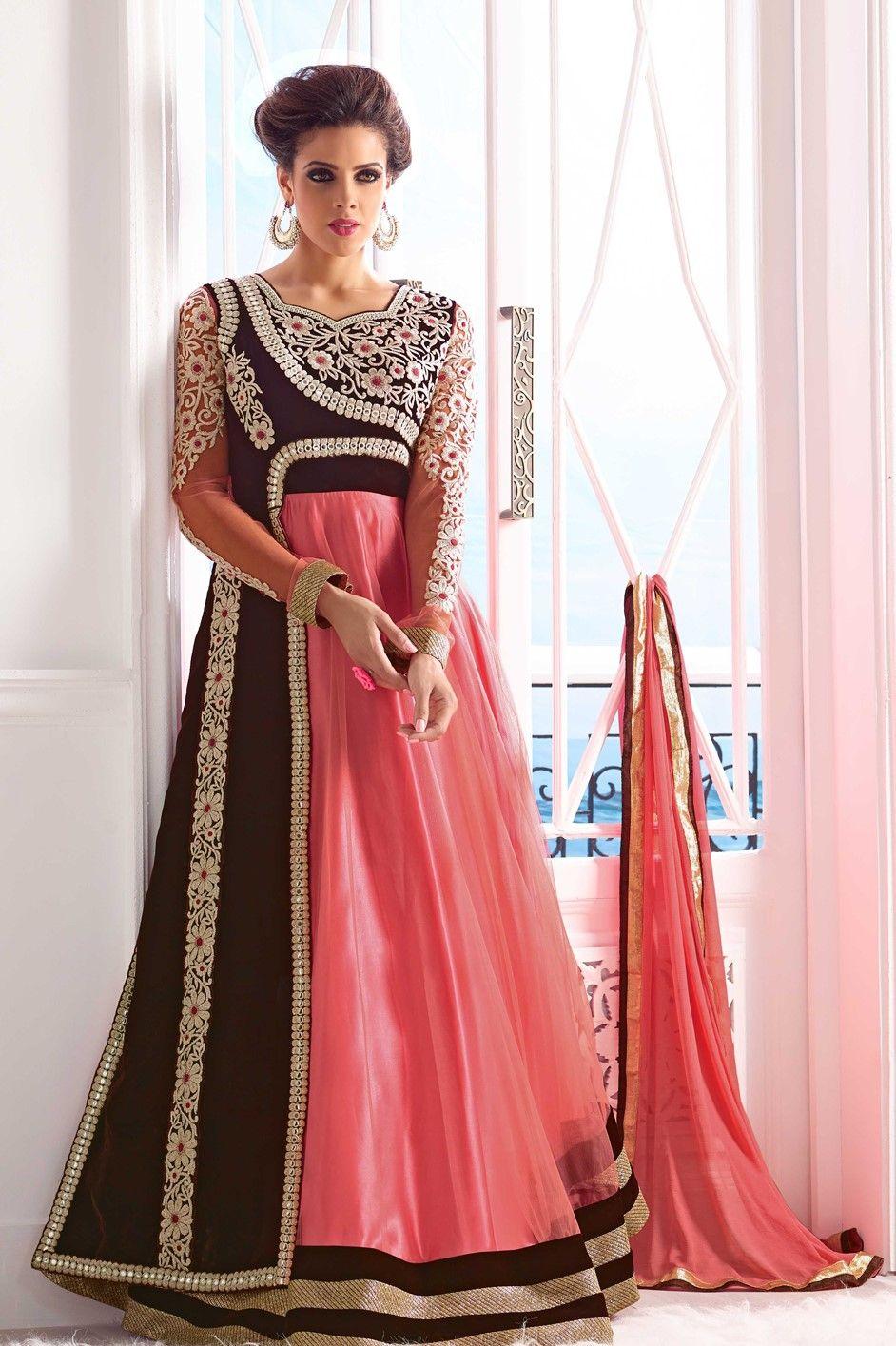 Designer Anarkali in Peach Indian outfits Pinterest
