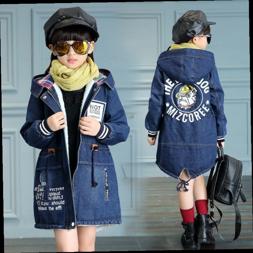 54.92$  Watch here - http://alivtd.worldwells.pw/go.php?t=32788678313 - 2016 Winter Kids Girls Denim Jacket Children Plus Thick Velvet Jacket Outerwear Long Section Warm Coat For Cold Winter 54.92$