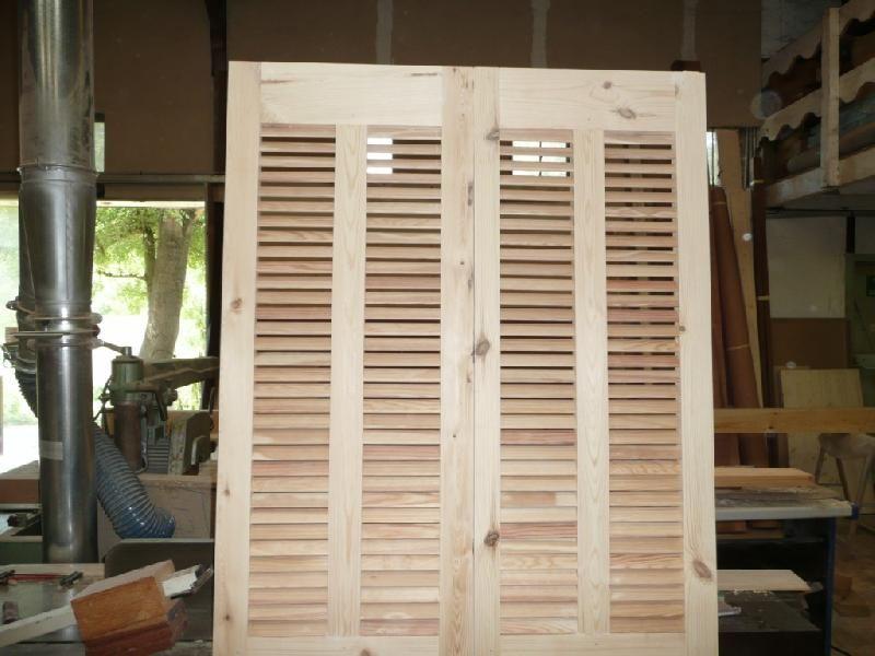 Volets persiennes 2 battants portes fen tres cloisons - Volet porte fenetre persienne bois ...