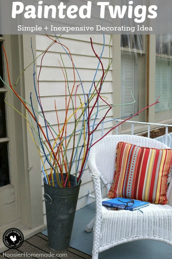 Transform twigs cut from your yard into a cool decoration! With just a bit of spray paint you can have a stunning simple and inexpensive decoration! & Transform twigs cut from your yard into a cool decoration! With just ...