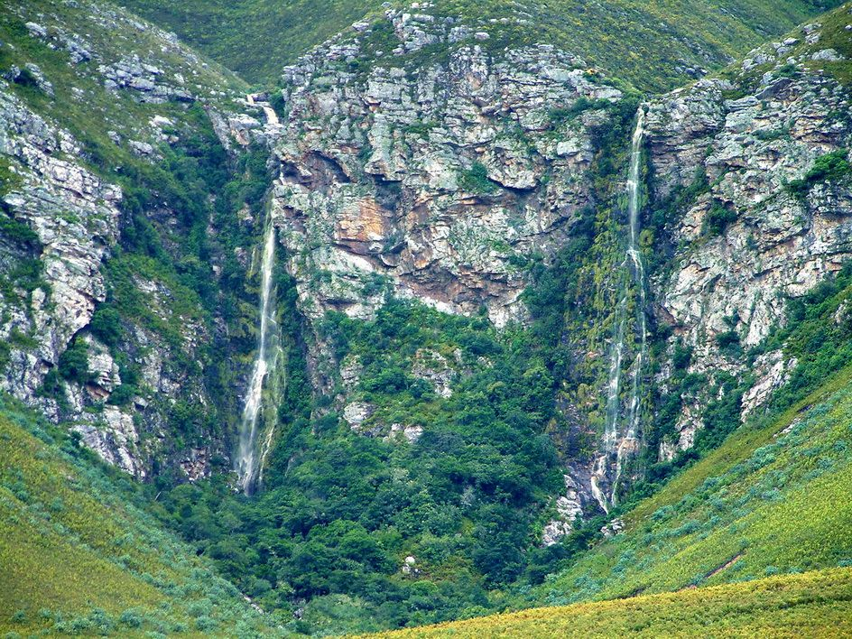 Three waterfalls in one spot just east of Hermanus, South Africa.