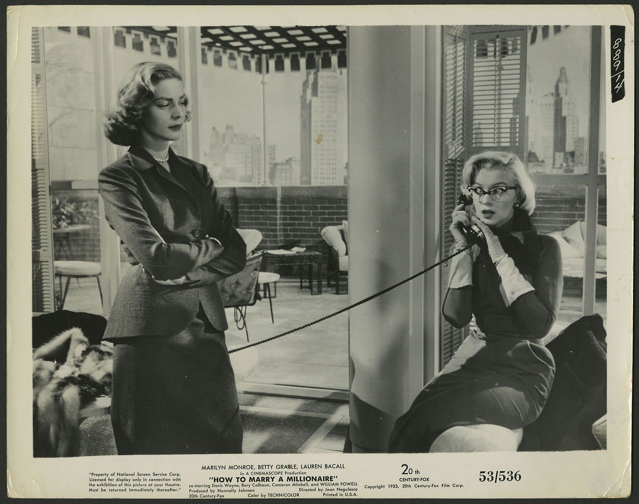Lauren Bacall and Marilyn Monroe in How to Marry a Millionaire (1953)