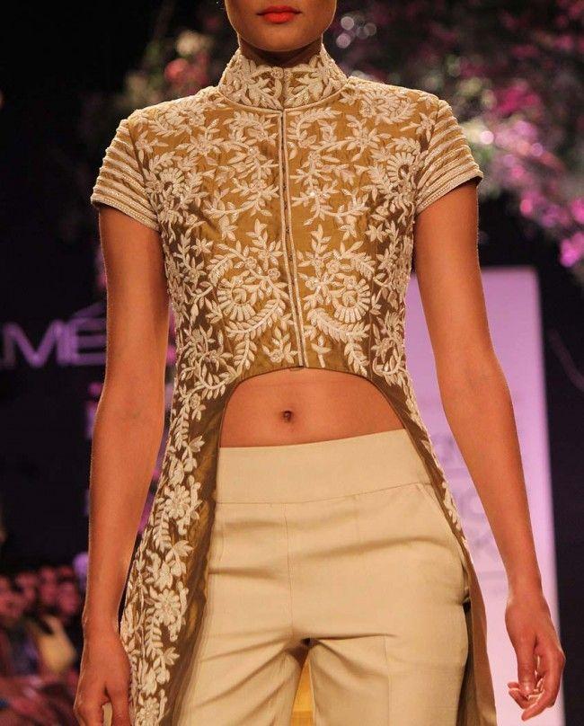 Dark Olive Silk Kurta- Buy Summer Affair '14 Online | manishmalhotra.in