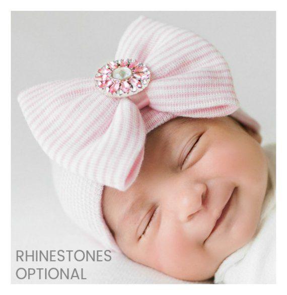 4ef60f2e95f newborn hospital hat baby hospital hat bow girl hospital hat newborn hat  with bow baby girl hat hosp